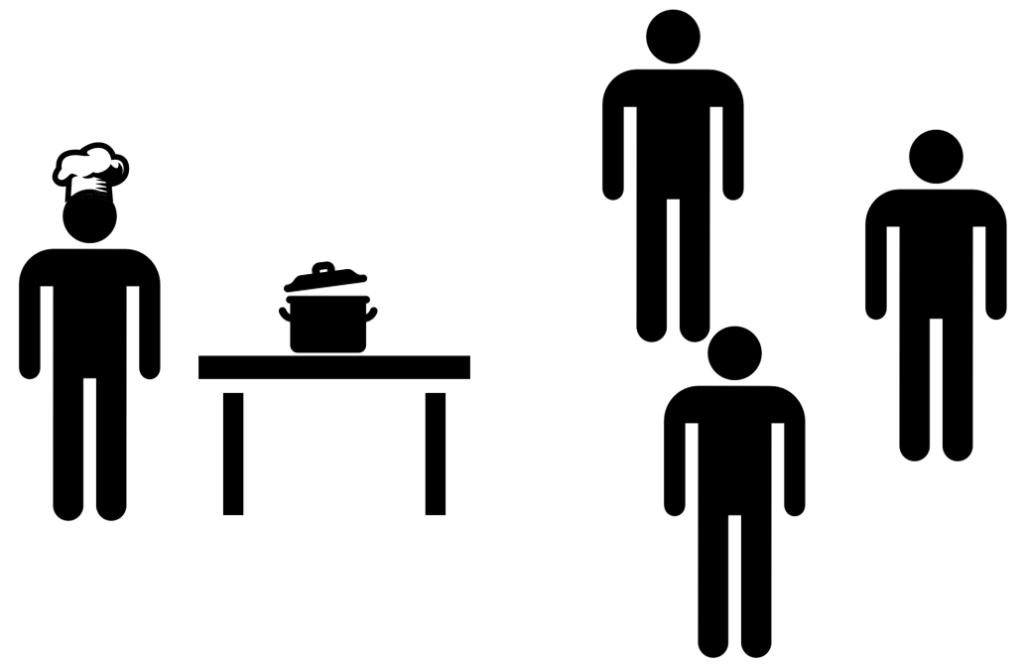 cuisinier fait cours à trois personnes