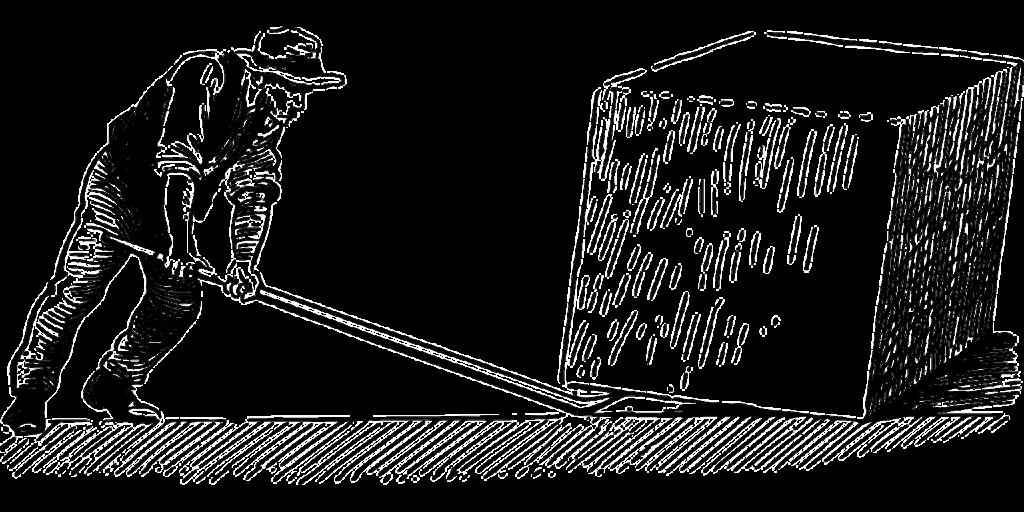 dessin d'un homme soulevant ue charge avec un levier