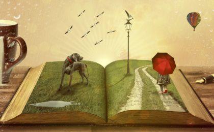 livre ouvert avec histoire pour imager le storytelling