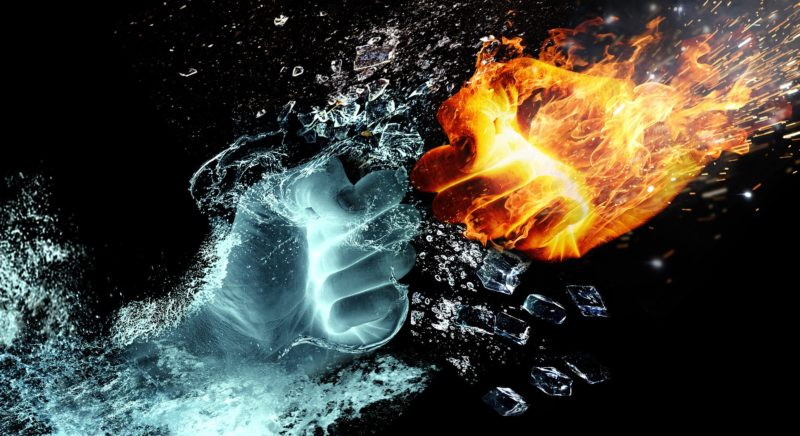percutant point glace contre point feu