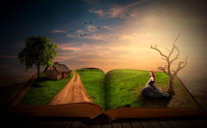 livre ouvert avec personnages qui en sortent